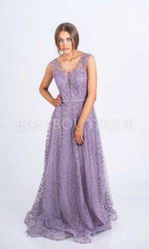 лилава бална рокля от дантела тип принцеса