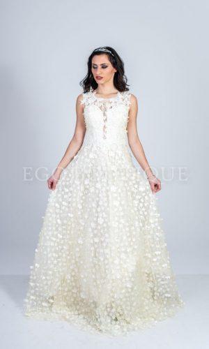 абитуриентска бяла рокля с цветя