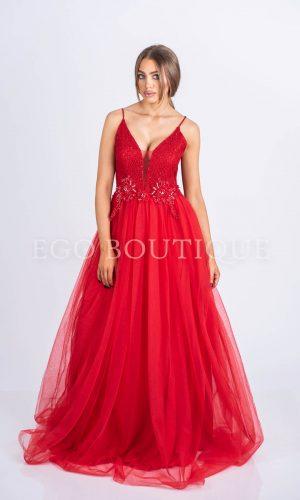 абитуриентска червена дълга рокля за принцеса от френски тюл и дантела с презрамки