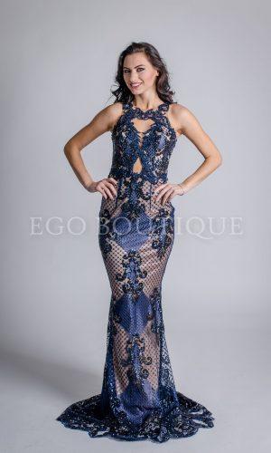 абитуриентска рокля от синя дантела