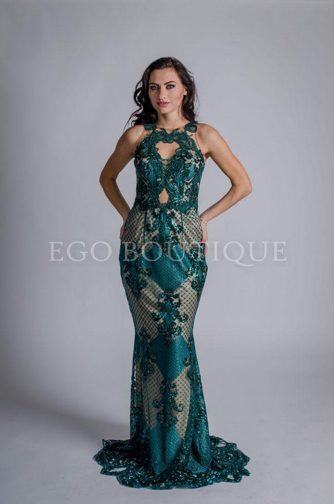 зелена дантелена абитуриентска рокля