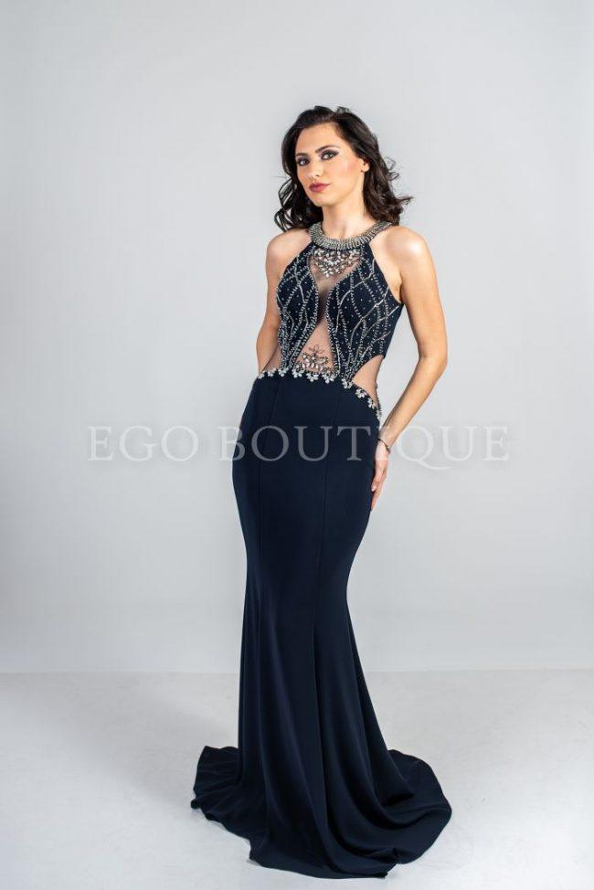 черна абитуриентска рокля тип русалка с камъни