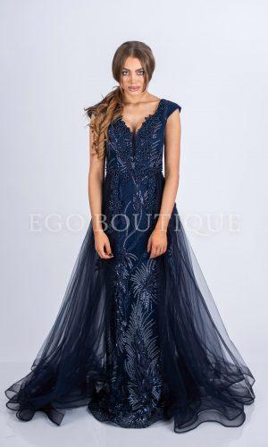 бална синя дълга рокля с тюлен шлейф