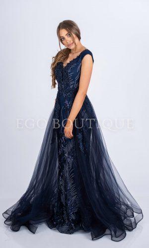 абитуриентска тъмно синя дантелена рокля тип русалка със шлейф