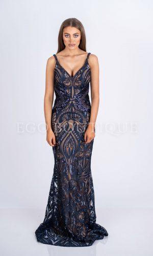 абитуриентска рокля в синя френска дантела тип русалка