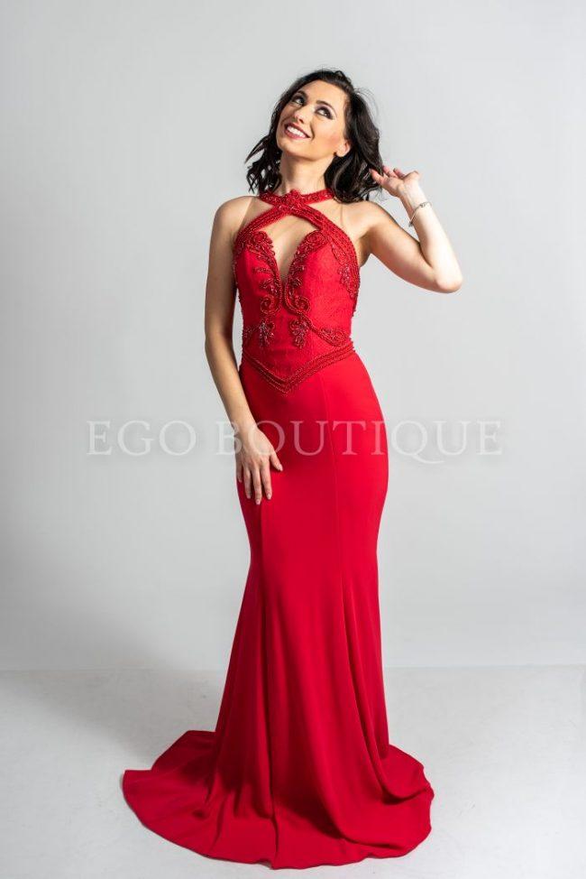 червена абитуриентска рокля тип русалка