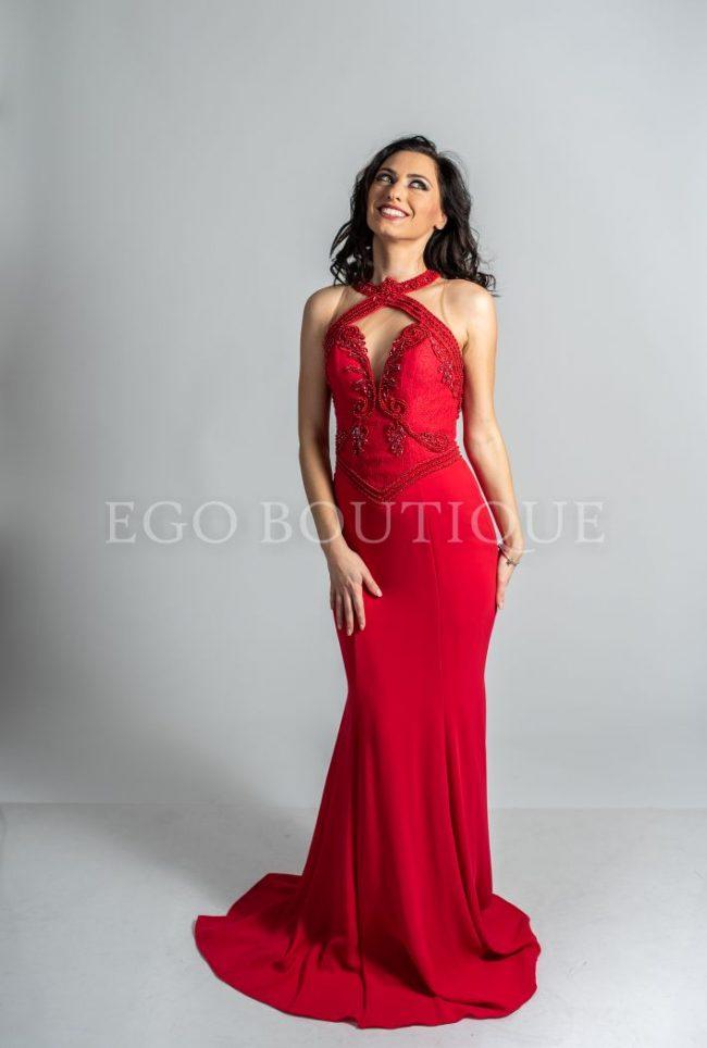 абитуриентска червена рокля тип русалка