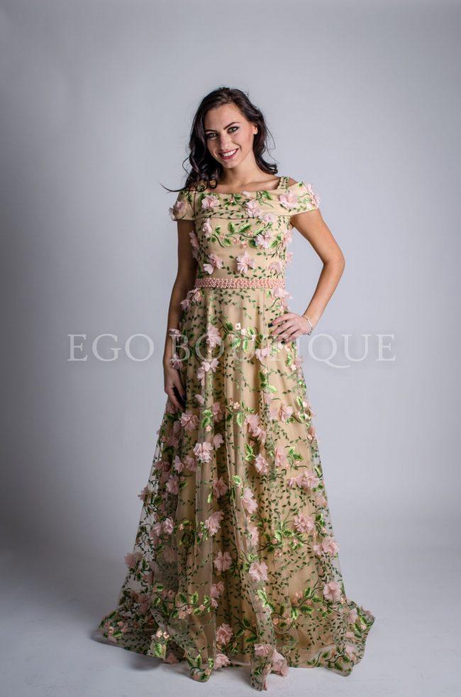 абитуриентска рокля в зелено и пудра