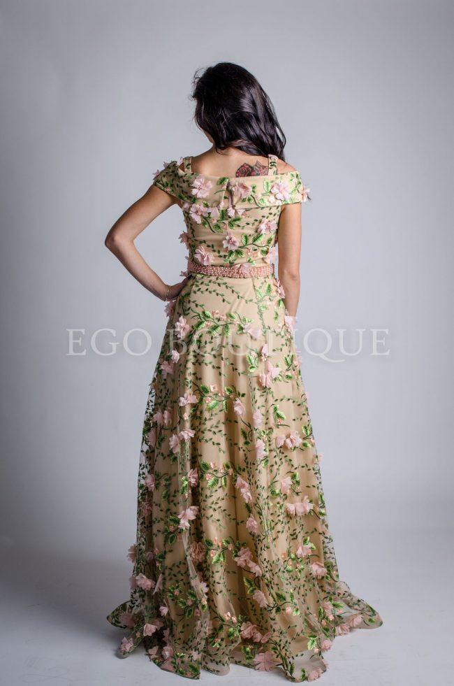 бална дълга рокля на цветя