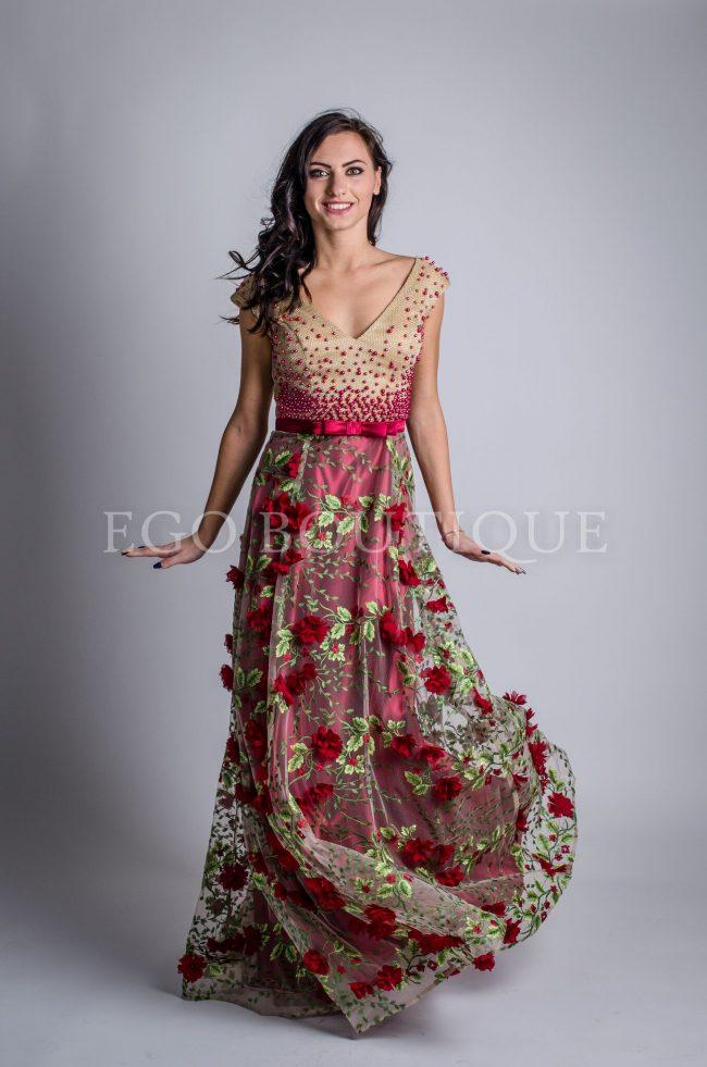 бална рокля в златисто и бордо цветя