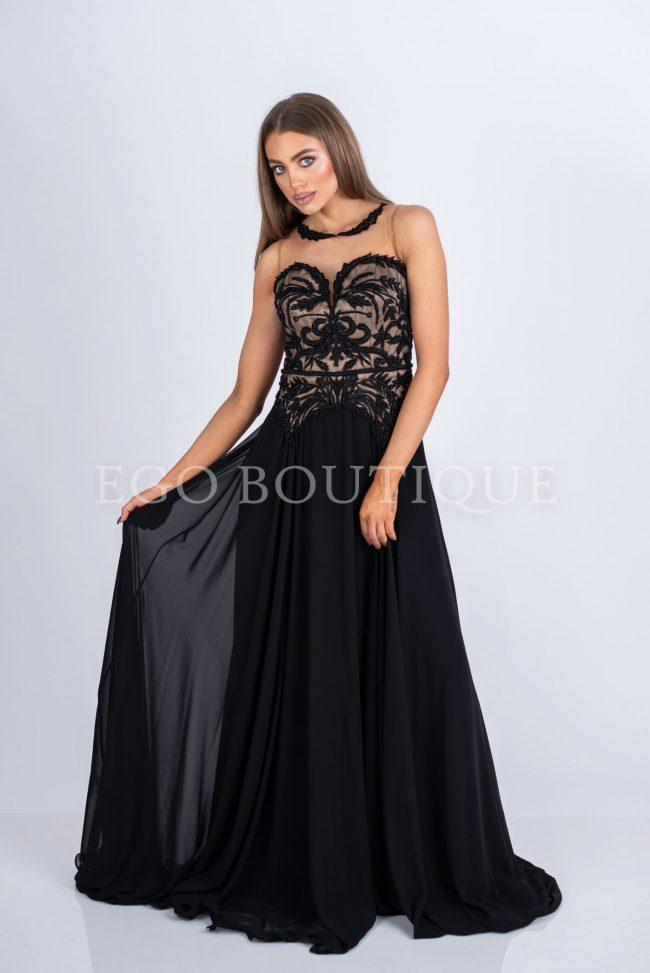бална черна рокля с дантела и шифон