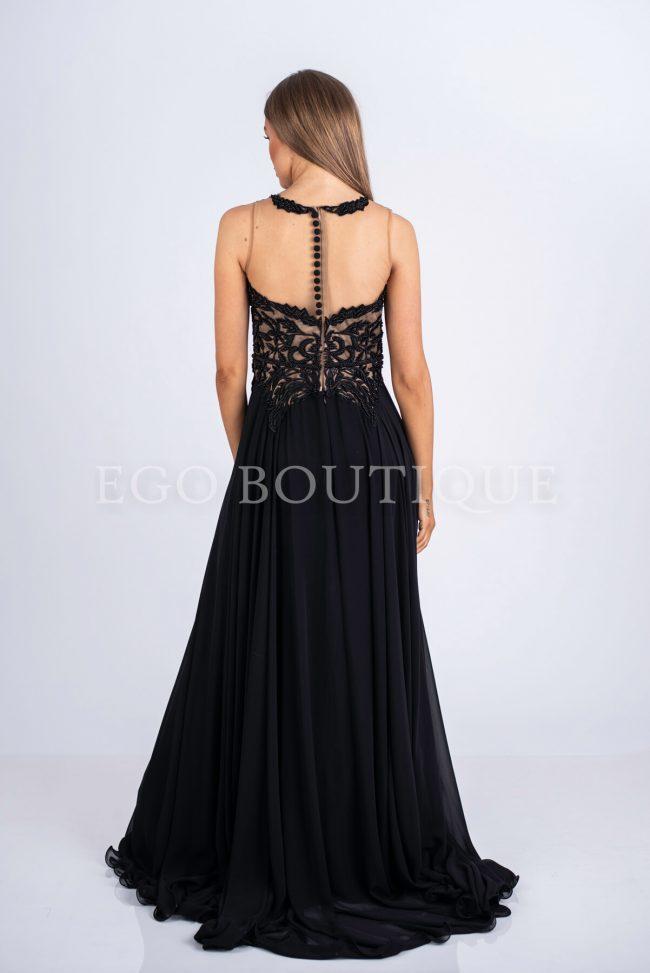 абитуриентска рокля с гол гръб от френски шифон и дантела