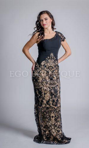 черна абитуриентска рокля с едно рамо тип русалка