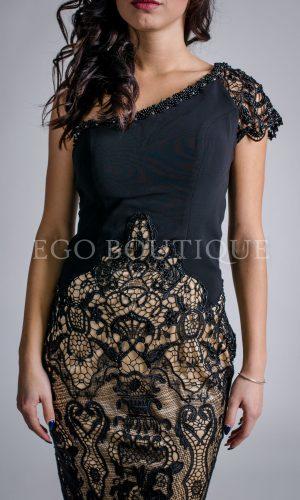 дантелена черна бална рокля