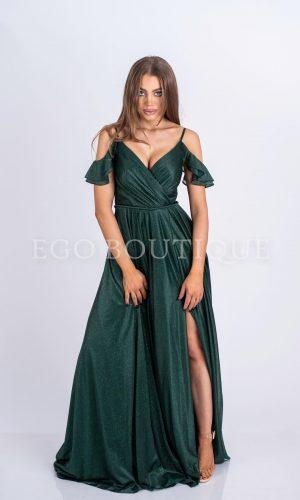 абитуриентска зелена дълга рокля ц цепка и гол гръб