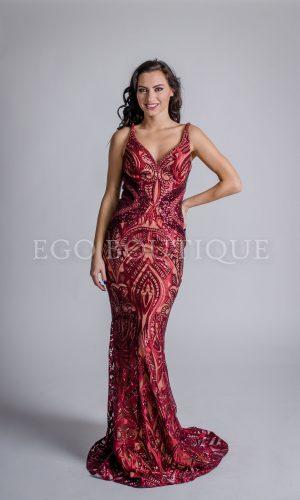 абитуриентска рокля Жасмин от френска бордо дантела