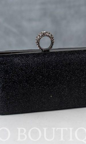абитуриентска черна чанта с метален обков и камъни