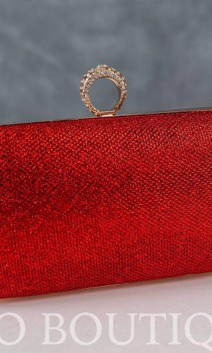 абитуриентска червена чанта с метален обков и дълга дръжка