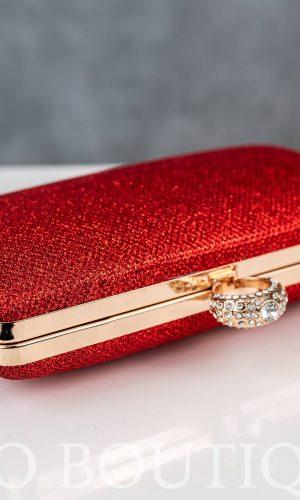 бална червена чанта с метален обков и камъни