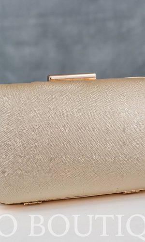 абитуриентска златна чанта галена от кожа