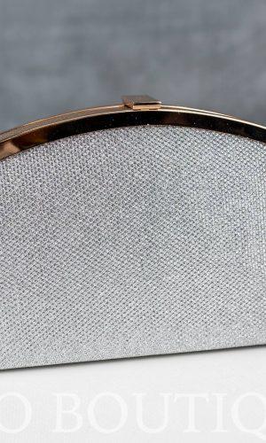 дамска абитуриентска чанта от сребърна мрежа със златен обков