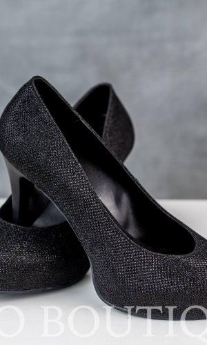 абитуриентски черни дамски обувки с елегантен ток и ортопедична стелка