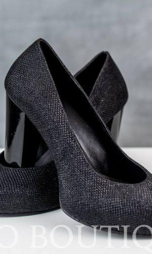 абитуриентски черни обувки със стабилен ток и ортопедична стелка