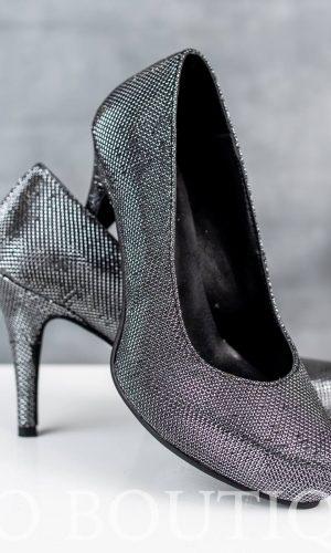 абитуриентски графитени дамски обувки с удобен ток и ортопедична стелка