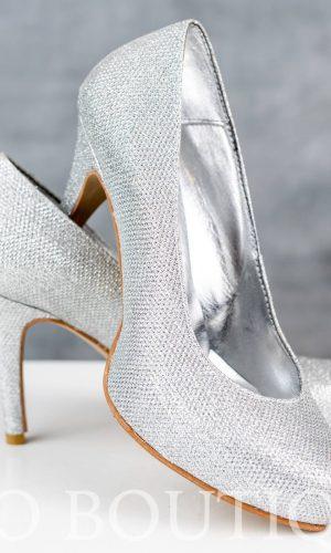 абитуриентски сребърни обувки с удобен ток и ортопедична стелка
