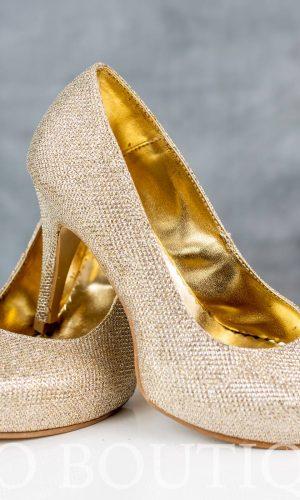 абитуриентски златни обувки с ортопедична стелка