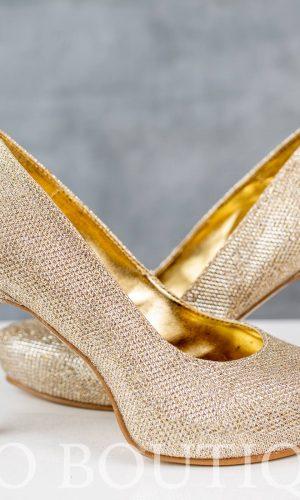 златни официални обувки с удобен ток