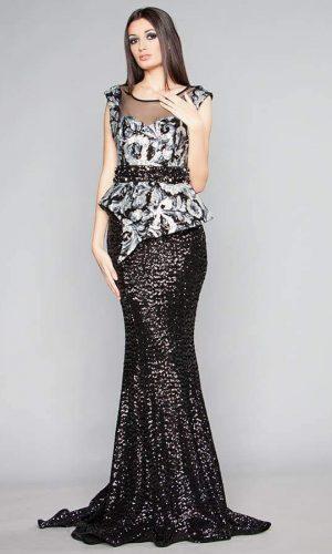 абитуриентска дълга рокля от уникална материя с блестящи пайети