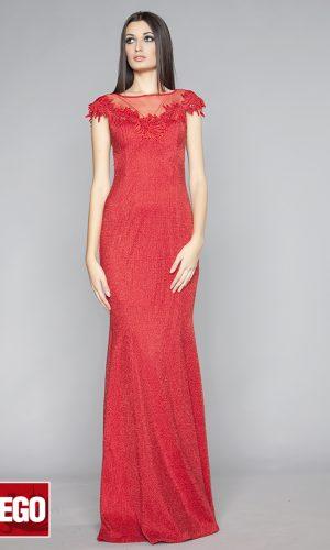 червена дълга абитуриентска рокля с гол тюлен гръб тип русалка