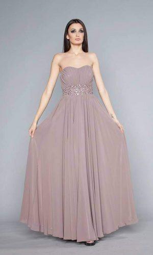 абитуриентска дълга рокля в цвят капучино с висока талия