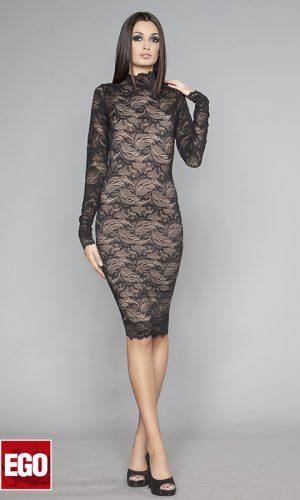 къса черна парти рокля от еластична дантела с дълъг ръкав