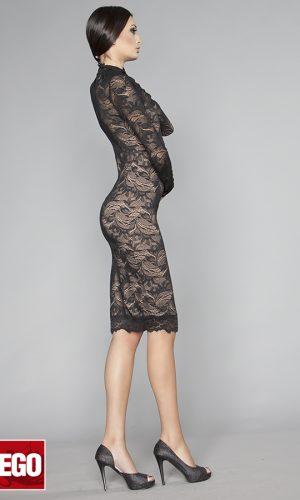 официална къса рокля от черна дантела