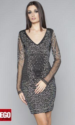 официална къса рокля от еластична материя с камъни и тюлен ръкав
