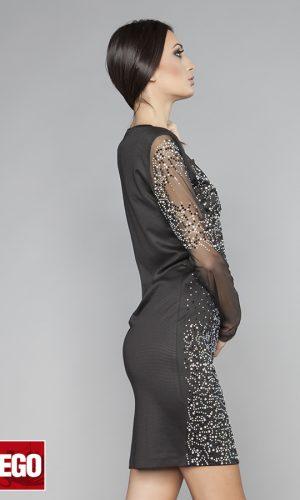 черна къса парти рокля с камъни