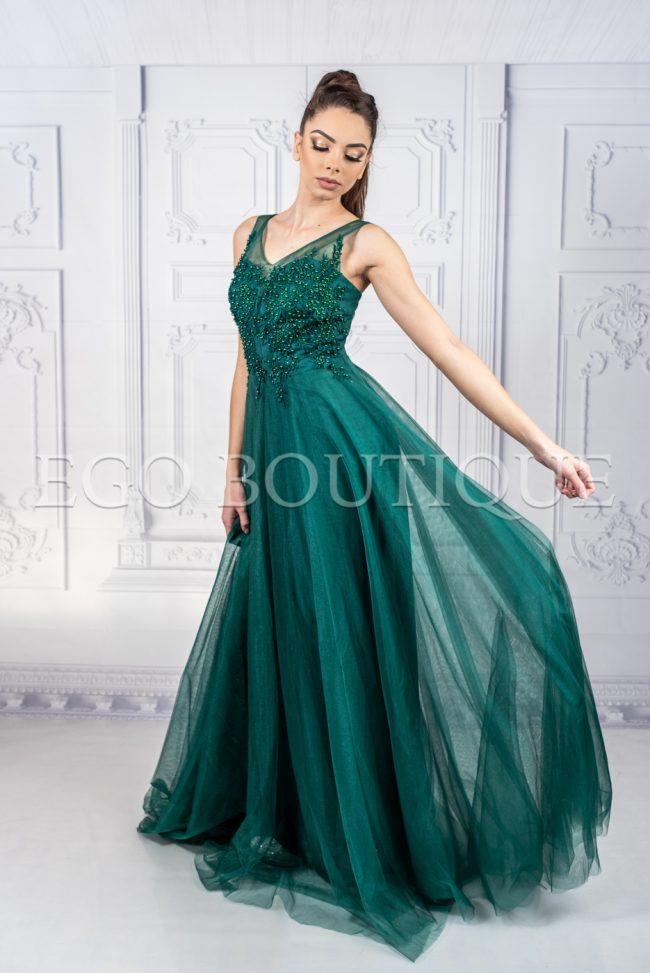 уникална бална зелена рокля от френски тюл