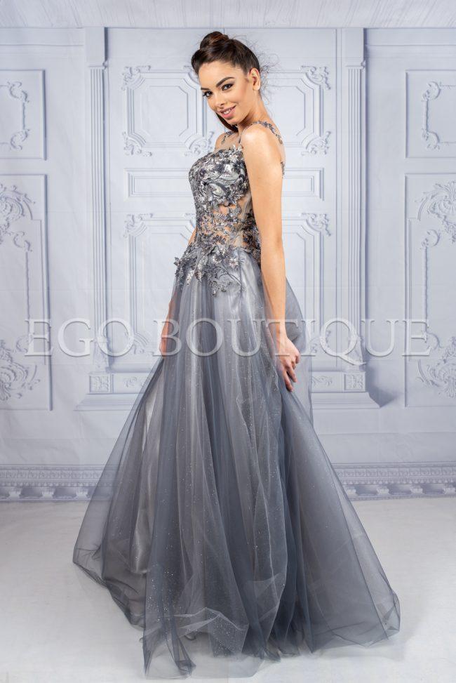 дизайнерска абитуриентска рокля в сив меланж