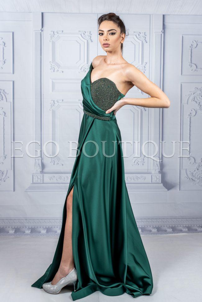 бална рокля гери с цепка в маслено зелено