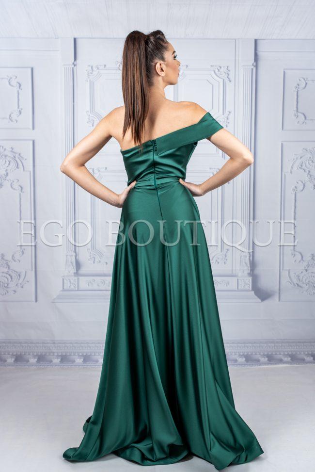 абитуриентска дълга зелена рокля от френска тафта