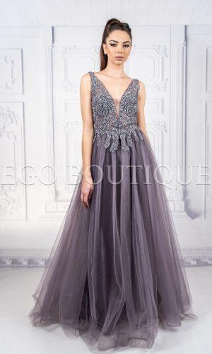 абитуриентска лилава рокля с камъни от френски шифон