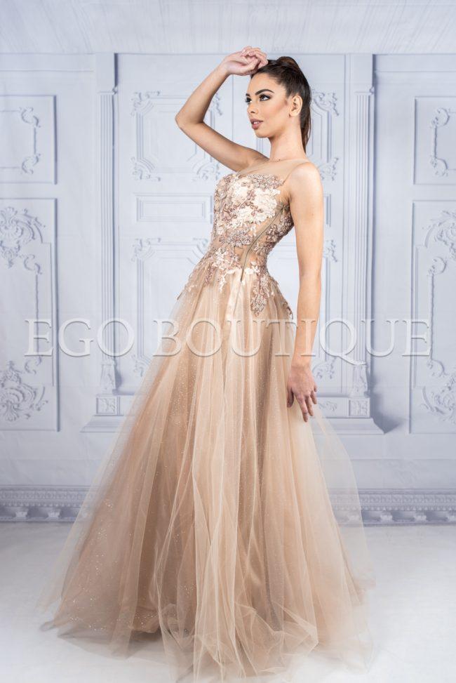 бална рокля за принцеси от дантела и тюл меланж