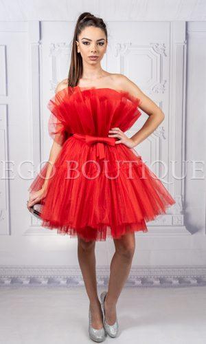 абитуриентска къса червена рокля от френски тюл тип барби