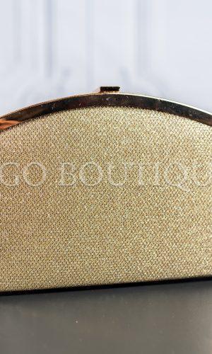 абитуриентска дамска чанта от златна мрежа с метален обков