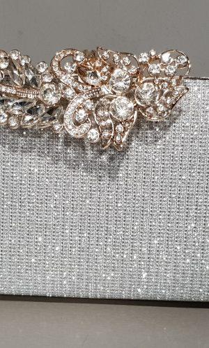 абитуриентска сребърна чанта със златен метален обков