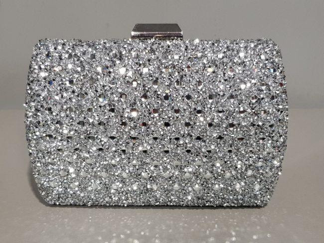 брокатена абитуриентска чанта със сребърен обков