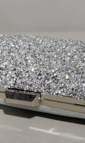 сребърна официална чанта с метален обков