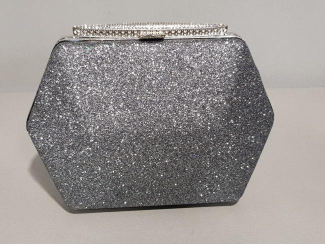 абитуриентска графитена чанта от брокат с метален обков